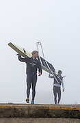 Boston, United Kingdom,  Left, Constantine LOULOUDIS and Peter REED, carrying their boat to the boating pontoon, GB Rowing Team October 5km Time Trial, on Sunday  01/11/2015  River Witham,  Lincolnshire <br /> <br /> [Mandatory Credit: Peter SPURRIER: Intersport Images]