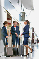 Portrait of young attractive flight attendants talking while standing in airport