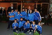 DESCRIZIONE : Roma Salone D Onore del Coni Nazionale Under 18 Femminile Presentazione Libro &quot;Ragazze d'Oro&quot;, &quot;Minibasket, l'emozione, la scoperta, il gioco&quot; e &quot;Mamma, giurami che qui non c'&egrave; il terremoto&quot;<br /> GIOCATORE : Bambini Minibasket L'Aquila L Aquila<br /> SQUADRA : <br /> EVENTO :  Nazionale Under 18 Femminile Presentazione Libro &quot;Ragazze d'Oro&quot;, &quot;Minibasket, l&Otilde;emozione, la scoperta, il gioco&quot; e &quot;Mamma, giurami che qui non c&Otilde; il terremoto&quot;<br /> GARA : <br /> DATA : 20/12/2010<br /> CATEGORIA : Presentazione Conferenza Stampa Ritratto<br /> SPORT : Pallacanestro <br /> AUTORE : Agenzia Ciamillo-Castoria/GiulioCiamillo<br /> Galleria : Lega Basket A 2010-2011 <br /> Fotonotizia : Roma Salone D Onore del Coni Nazionale Under 18 Femminile Presentazione Libro &quot;Ragazze d'Oro&quot;, &quot;Minibasket, l&Otilde;emozione, la scoperta, il gioco&quot; e &quot;Mamma, giurami che qui non c&Otilde; il terremoto&quot;<br /> Predefinita :