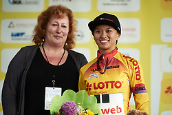 Race leader, Coryn Rivera (USA) at Lotto Thuringen Ladies Tour 2018 - Stage 3, a 131 km road race starting and finishing in Schleiz, Germany on May 30, 2018. Photo by Sean Robinson/Velofocus.com