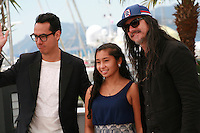 Actor Carlos Clavijo, actress Karen Torres and director José Luis Rugeles at the Alias Maria film photo call at the 68th Cannes Film Festival Wednesday May 20th 2015, Cannes, France.