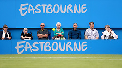 A tennis ball bounces in front of fans during the Women's Doubles Final during day nine of the AEGON International at Devonshire Park, Eastbourne.