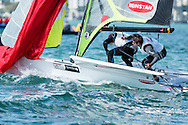 miami - January 29, 2015.  Brad Funk and Trevor Burd round the windward markin the 49er fleet during the 2015 ISAF Sailing World Cup.  Team Funky Burd, as they are known, finished the regatta in 7th place overall in a fleet of 40 boats.