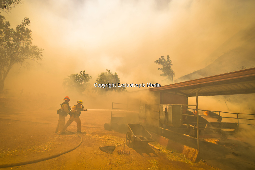 June 20, 2016 - Duarte, California, U.S. - Los Angeles County firefighters work to extinguish flames burning a horse stable off Fish Canyon Rd Monday afternoon as the Fish Fire burned over 1400 acres. ..The Fish Fire burns above Duarte and Los Angeles County. The Reservoir Fire also started nearby during record heat in the Southwest. The fire was 1,400 acres at 2:50pm<br /> &copy;Exclusivepix Media