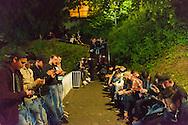 Nederland, Nijmegen, 20160715.<br /> Tientallen jongeren op de trappen bij de Waalkade zitten  Pokemons te vangen. De nieuwe rage<br /> <br /> Netherlands, Nijmegen<br /> Dozens of young people on the stairs at the quay are catching Pokemons. The New Craze