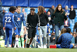 Chelsea's Callum Hudson-Odoi in Chelsea's Lap of Appreciation during the Premier League match at Stamford Bridge, London.
