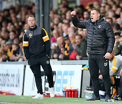 Newport County's manager Michael Flynn (left) and Mansfield Town's manager David Flitcroft during the Sky Bet League Two Play-Off First Leg match at Rodney Parade, Newport.