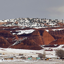 010311       Brian Leddy.The red rocks lie under a blanket of fresh snow on Monday afternoon. Gallup and the surrounding area will continue to see winter weather over the course of Tuesday and Wednesday.