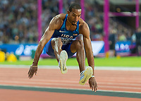Athletics - 2017 IAAF London World Athletics Championships - Day Seven, Evening Session<br /> <br /> Mens Triple Jump Final<br /> <br /> Chriatian Taylor (United States) leaps to 17.68m to win the triple jump competition at the London Stadium<br /> <br /> COLORSPORT/DANIEL BEARHAM