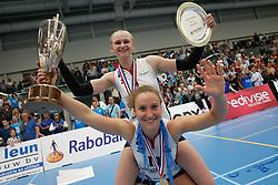 20190424 NED: Sliedrecht Sport - VC Sneek: Sliedrecht<br /> Sliedrecht Sport Nederlands Kampioen Volleybal Seizoen 2018 - 2019, Christie Wolt (1) of Sliedrecht Sport, Ana Rekar (11) of Sliedrecht Sport <br /> ©2019-FotoHoogendoorn.nl / Pim Waslander