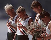 .Barcelona Olympic Games 1992.Olympic Regatta - Lake Banyoles.NOR M4X.Lars Bjonness, Rolf Thorsen, Kjetil Undset and Per Albert Saetersdal..       {Mandatory Credit: © Peter Spurrier/Intersport Images]..........       {Mandatory Credit: © Peter Spurrier/Intersport Images].........