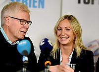Fotball , 27. september 2017 , Eliteserien og Toppserien har fått felles ligaball , <br />  Leif Øverland , Hege Jørgensen