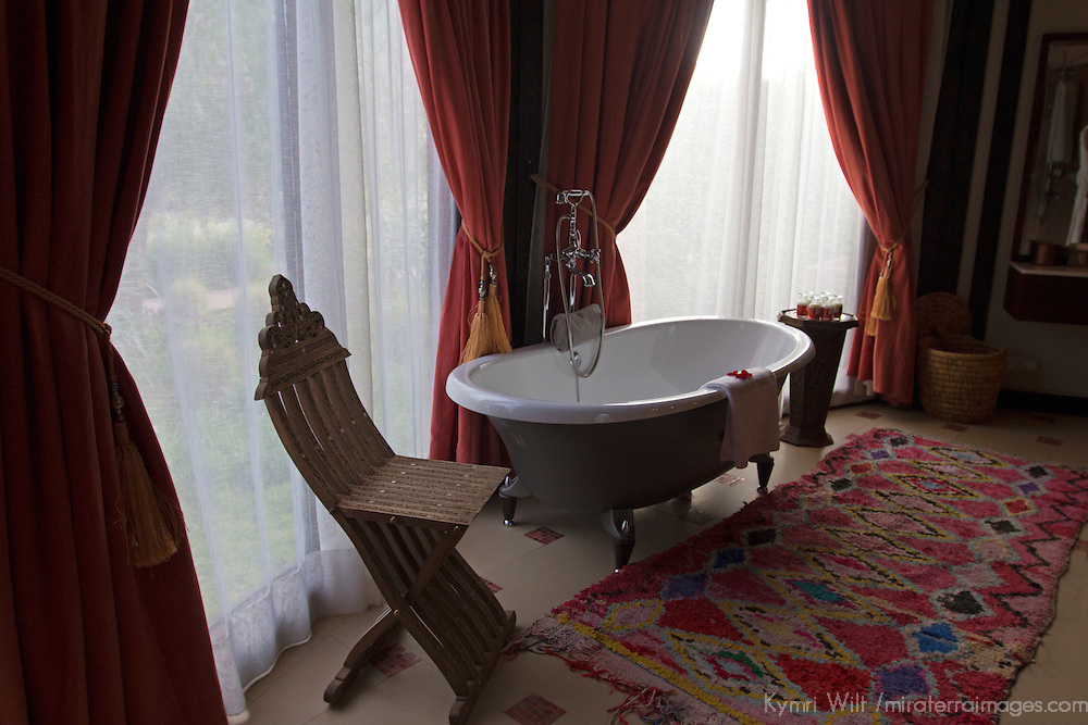 Africa, Morocco, Asni. Berber Tent bathroom at Richard Branson's Kasbah Tamadot luxury retreat in the Atlas Mountains.