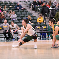 4th year outside hitter Dalton Wolfe (9) of the Regina Cougars in action during Men's Volleyball home game on January 13 at Centre for Kinesiology, Health and Sport. Credit: /Arthur Images 2018