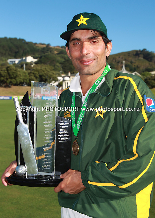 Pakistan captain Misbah-Ul-Haq poses for a photo after winning the 2 test match series 1-0 at the conlusion of Day 5 of the 2nd test match.  New Zealand Black Caps v Pakistan, Test Match Cricket. Basin Reserve, Wellington, New Zealand. Wednesday 19 January 2011. Photo: Andrew Cornaga/photosport.co.nz