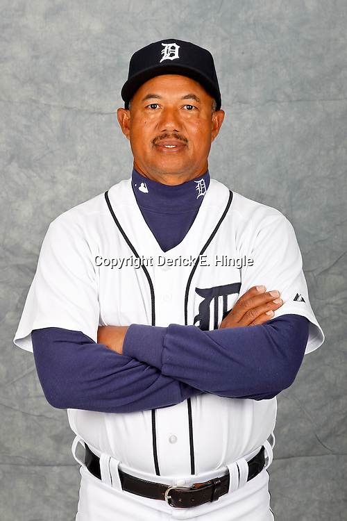 February 28, 2012; Lakeland, FL, USA; Detroit Tigers coach Rafael Belliard (17) poses for photo day in the rec room at the Detroit Tigers Headquarters.  Mandatory Credit: Derick E. Hingle-US PRESSWIRE