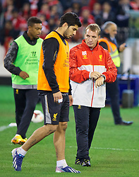 MELBOURNE, AUSTRALIA - Tuesday, July 23, 2013: Liverpool's manager Brendan Rodgers and Luis Suarez during a training session at the Melbourne Cricket Ground ahead of their preseason friendly against Melbourne Victory. (Pic by David Rawcliffe/Propaganda)