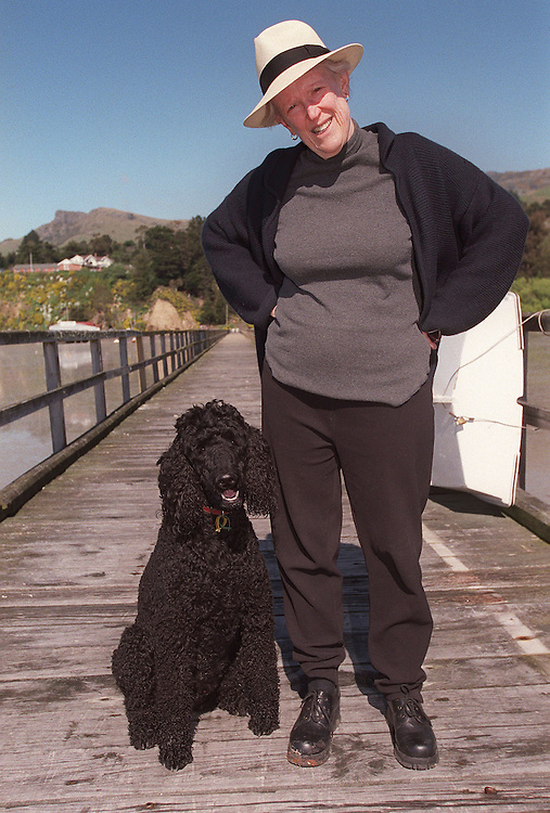 Author Margaret Mahy with Baxter on the jetty, Governors Bay, Christchurch ,  New Zealand (file pic) October 08,1999. Credit:  SNPA / David Alexander.