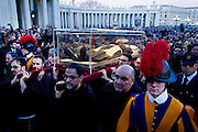 Vatican City feb 5th 2015, exposition of St Pio (Padre Pio) and St Leopoldo Mandic relics in St Peter's Basilica. In the picture Padre Pio relics arrives at St Peter's Square