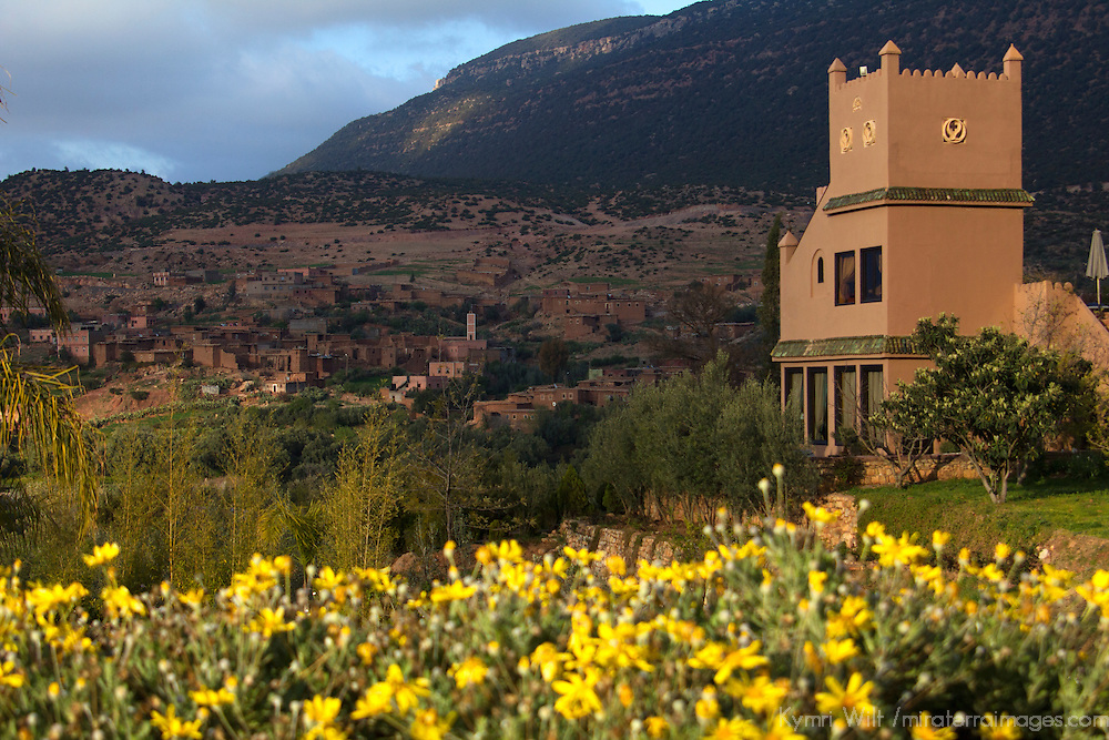 Africa, Morocco, Asni. Gardens at Richard Branson's Kasbah Tamadot luxury retreat in the Atlas Mountains.