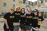 Aoife Ni Chuirrin, Deirdre Breathnach, Sinead Mhurchadha Caren Ni Dhroma and Mairead Ni Chalhbhuadhaigh from the Waterford hen  at the Budweiser Ice Cold Summer BBQ, broadcast live on the Tony Fenton Show at The Galway Bay Hotel in Salthill. Photo:Andrew Downes.. .Both Duke Special and The Divine Comedy performed at the summer kick-off party and Today FM's Tony Fenton Show broadcast live from the hotel all afternoon...The 150 invited guests included Today FM listeners ad Budweiser Ice Cold Facebook fans from all over the country. Guests also won the chance to win a cool Grand in cash, meet Mr. Iceman and of course enjoy a pint of Budweiser Ice Cold, the coldest pint ever!..Enjoy Budweiser Ice Cold sensibly visit www.drinkaware.ie ..This event was strictly over 18's,..-ENDS-..FOR FURTHER INFORMATION PLEASE CONTACT:.Killian Burns / Aoiffe Madden..Killian.burns@ogilvy.com / aoiffe.madden@ogilvy.com.WHPR..Tel: 01 6690030.