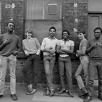 Cutlery workers take a break, Sydney Street Sheffield 1983.