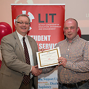 18.05.2016<br /> Limerick Institute of Technology (LIT) hosted a celebration of community and voluntary engagement in the LIT Millennium Theatre for the GO4IT & Give Graduation ceremony.<br /> <br /> Acting President LIT, Terry Toomey presented a Give certificate to Declan O'Neill. Picture: Alan Place/Fusionshooters