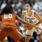 UNCASVILLE, CONNECTICUT- DECEMBER 4:  Kia Nurse #11 of the Connecticut Huskies defended by Brianna Taylor #20 of the Texas Longhorns during the UConn Huskies Vs Texas Longhorns, NCAA Women's Basketball game in the Jimmy V Classic on December 4th, 2016 at the Mohegan Sun Arena, Uncasville, Connecticut. (Photo by Tim Clayton/Corbis via Getty Images)