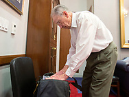 Sen. Chuck Grassley packs items in his bag as he prepares for his flight back to Iowa in his office after the end of hearings before the Senate Judiciary Committee for Neil Gorsuch to become an Associate Justice of the US Supreme Court in the Hart Senate Office Building in Washington, D.C. on Thursday, Mar. 23, 2017.