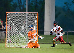 Virginia Goalie Bud Petit (8) makes a save against Maryland.  The #3 ranked Virginia Cavaliers defeated the #8 ranked Maryland Terrapins 11-8 in the semi finals of the Men's 2008 Atlantic Coast Conference tournament at the University of Virginia's Klockner Stadium in Charlottesville, VA on April 25, 2008.