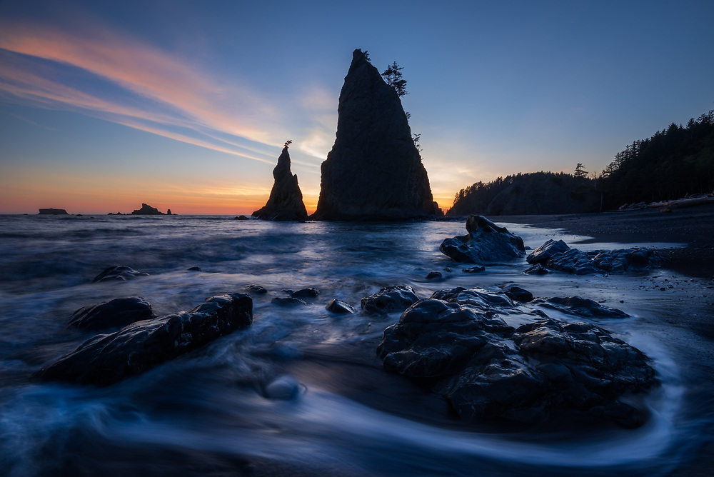 Sunset and wave action on Rialto Beach, Olympic National Park, Washington