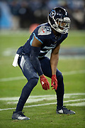 Tennessee Titans cornerback Malcolm Butler (21) gets set during the week 14 regular season NFL football game against the Jacksonville Jaguars on Thursday, Dec. 6, 2018 in Nashville, Tenn. The Titans won the game 30-9. (©Paul Anthony Spinelli)
