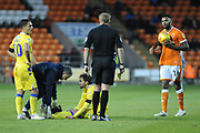 Bristol Rovers Midfielder, Edward Upson (6) injured during the EFL Sky Bet League 1 match between Blackpool and Bristol Rovers at Bloomfield Road, Blackpool, England on 3 November 2018.