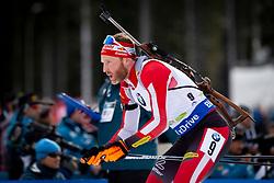 Simon Eder (AUT) in action during the Pursuit Men 12,5 km at day 8 of IBU Biathlon World Cup 2018/19 Pokljuka, on December 9, 2018 in Rudno polje, Pokljuka, Pokljuka, Slovenia. Photo by Urban Urbanc / Sportida