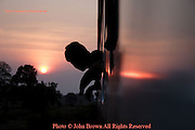 A passenger leans out a train window to view the sunset near Burinam, Thailand..