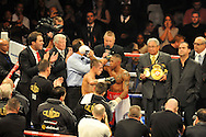 Picture by Alan Stanford/Focus Images Ltd +44 7915 056117<br />05/10/2013<br />Scott Quigg and Yoandris Salinas after their WBA World Super-Bantamweight Championship bout at the O2 Arena, London.