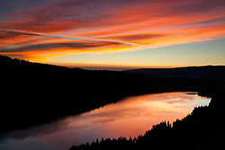 """Donner Lake Sunrise 12"" - Photograph of Donner Lake at sunrise, looking toward the town of Truckee, California from the old train tunnel area."