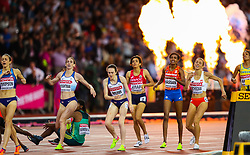 London, 2017 August 07. Each face tells a story as Faith Chepngetich Kipyegon, Kenya, wins in the women's 1,500m final on day four of the IAAF London 2017 world Championships at the London Stadium. © Paul Davey.