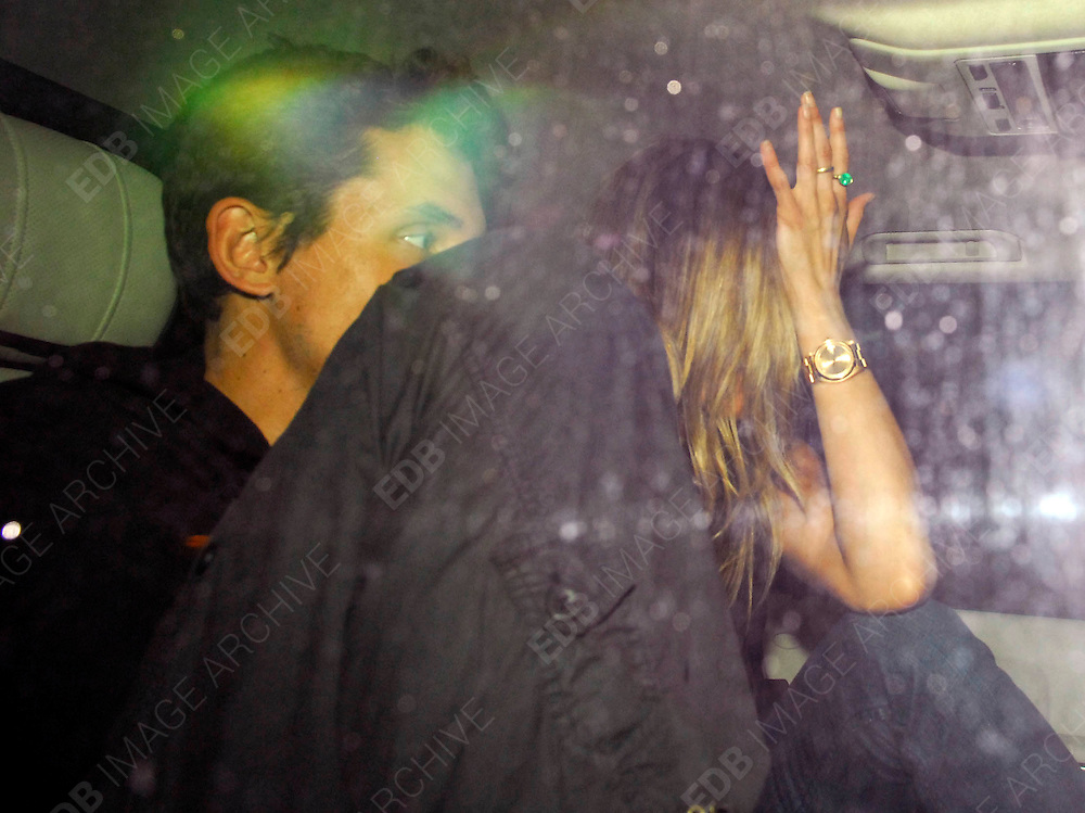 27.JUNE.2008. LONDON<br /> <br /> JENNIFER ANISTON AND NEW BOYFRIEND JOHN MAYER LEAVING BRIXTON ACADEMY AT 12.30AM AFTER SHE WENT TO SEE HIM PERFORM IN CONCERT.<br /> <br /> BYLINE: EDBIMAGEARCHIVE.CO.UK<br /> <br /> *THIS IMAGE IS STRICTLY FOR UK NEWSPAPERS AND MAGAZINES ONLY*<br /> *FOR WORLD WIDE SALES AND WEB USE PLEASE CONTACT EDBIMAGEARCHIVE - 0208 954 5968*