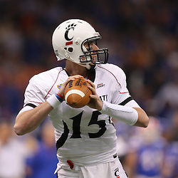 Jan 01, 2010; New Orleans, LA, USA;  Cincinnati Bearcats quarterback Tony Pike (15) throws a pass against the Florida Gators during the first half of the 2010 Sugar Bowl at the Louisiana Superdome.  Mandatory Credit: Derick E. Hingle-US PRESSWIRE.