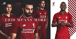LIVERPOOL, ENGLAND - Thursday, April 19, 2018: A hand-out image from Liverpool Football Club of their new 2018-19 season kit designed by New Balance with a tipped two-button polo collar featuring top scorer Mohamed Salah (2nd left), Roberto Firmino (left), Virgil van Dijk (2nd right) and Sadio Mane (right). (Pic by Pool/Liverpool Football Club via Propaganda)