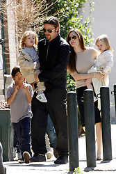 Brad Pitt and Angelina Jolie go for a walk with their six children Maddox, Pax, Zahara, Shiloh, Knox, and Vivienne in their neighborhood in New Orleans, LA, USA on March 20, 2011. Photo by Mehdi Taamallah/ABACAUSA.com