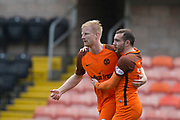 14th April 2018, Tannadice Park, Dundee, Scotland; Scottish Championship football, Dundee United versus Falkirk; Paul McMullan congratulates Thomas Mikkelsen of Dundee United after the striker had scored for 1-0