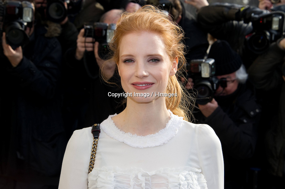 Jessica Chastain during Karl Lagerfeld's Fall/Winter 2013/2014 ready-to-wear fashion show for French fashion house Chanel in Paris, FranceFall/Winter 2013/2014 ready-to-wear fashion show for French fashion house Chanel in Paris, France,  March 5, 2013. Photo by Imago / i-Images...UK ONLY..Contact..Andrew Parsons: 00447545 311662.Stephen Lock: 00447860204379