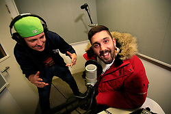 UK ENGLAND LONDON 4DEC12 - Sebastian Meichsner (26) and Chris Manazides (26, L-R)  of bullshittehvau at the sound studio at the YouTube Creator Space offices in central London.....25 winners from YouTube's NextUp competetion were selected to receive an all-expenses paid trip to London where they are attending a week of training and mentorship.....jre/Photo by Jiri Rezac....© Jiri Rezac 2012