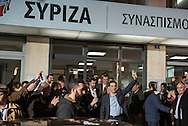 Eleftherias, Athens, Greece. 25th January, 2015. Syriza leaderAlexis Tsipras emerges from the Party's Headquarters in the centre of Athens after he looks set to win the Greek elections outright.