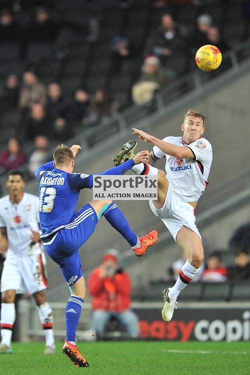 anthony pilkington for cardiff try for the ball MK Dons v Cardiff, Sky Bet Championship, Saturday 26th December 2016