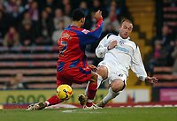 Photo: Kevin Poolman.<br />Crystal Palace v Colchester United. Coca Cola Championship. 09/12/2006. Jobi McAnuff (left) of Palace and Kevin Watson of Colchester both go in for a tackle.
