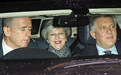 © Licensed to London News Pictures. 06/02/2019. London, UK. PM THERESA MAY is seen leaving Battersea Park in London after the annual Black and White Ball, a fundraiser held by the Conservative Party. Photo credit: Ben Cawthra/LNP