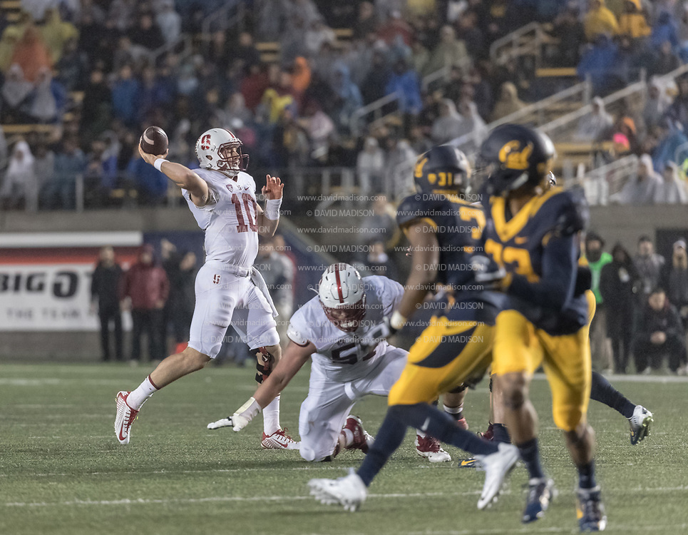 BERKELEY, CA - NOVEMBER 19:  Keller Chryst #10 the Stanford Cardinal attempts a pass during the 119th Big Game between Stanford and California on November 19, 2016 at Memorial Stadium in Berkeley, California.  (Photo by David Madison/Getty Images)